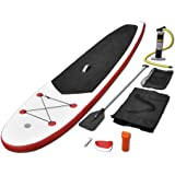 vidaXL Stand Up Paddle Board Set SUP Surfboard Inflatable Red/Blue & White Canoe