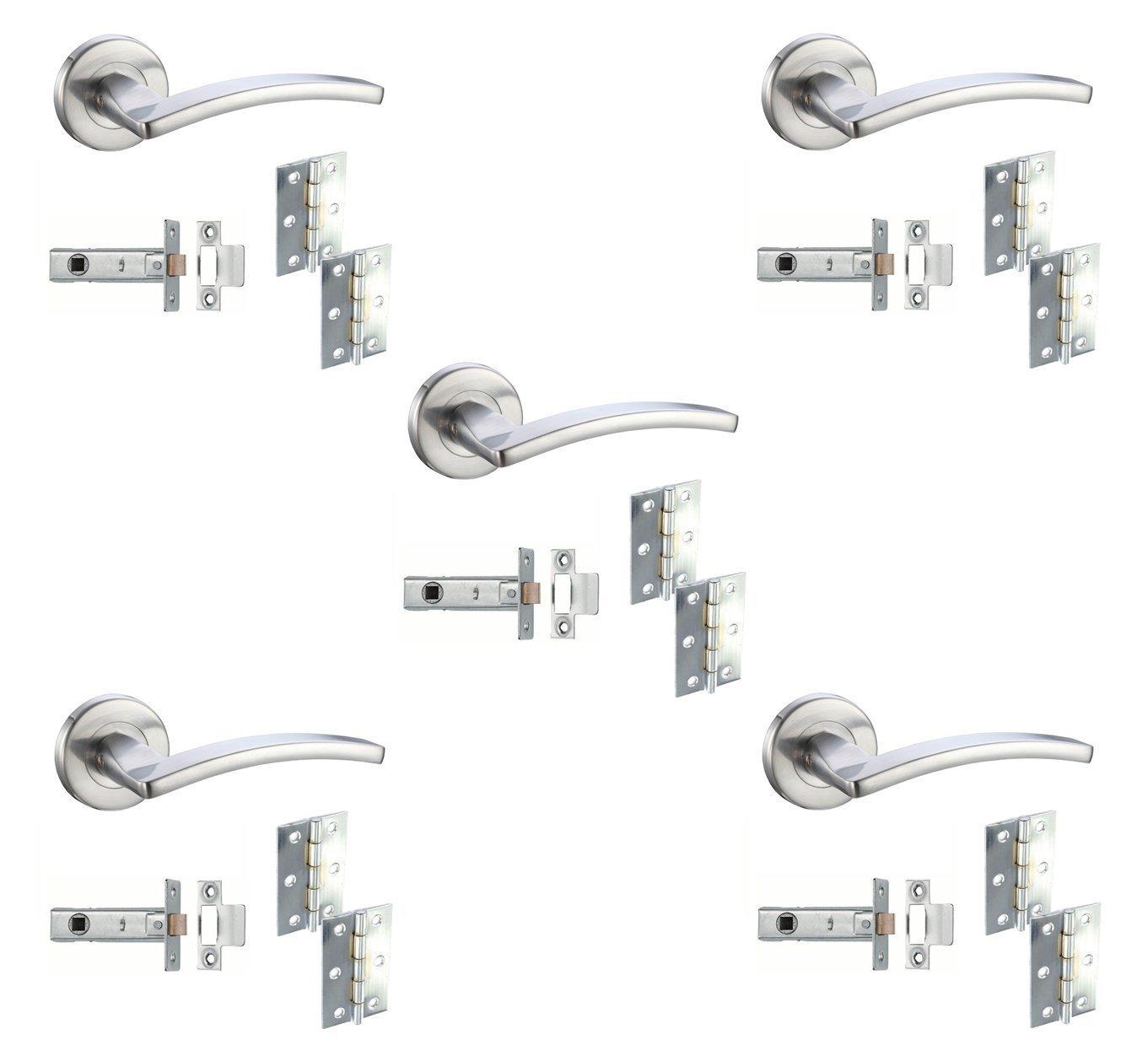 Toledo Lever Internal Door Handle Furniture Packs on Rose Satin Chrome - Bathroom Pack DJM Direct
