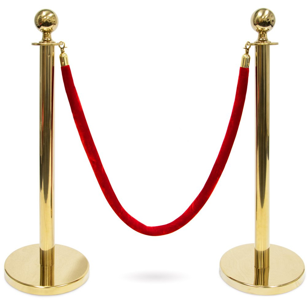 3-Foot Polished Ball Top Stanchions with 4.5-Foot Red Velvet Rope by Pudgy Pedro's Party Supplies (Gold)
