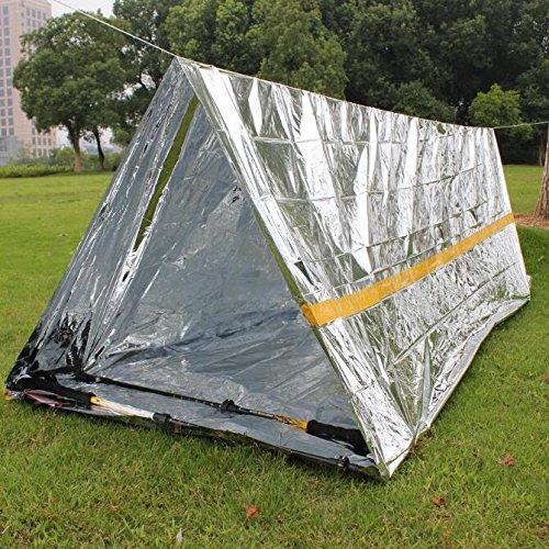 Coperta di Emergenza + Tenda di Emergenza Amaoma 2 pezzi Set di Sopravvivenza Con e Sacco a Pelo Multifunzione Coperte di Protezione Solare Argento Pronto Soccorso allaperto
