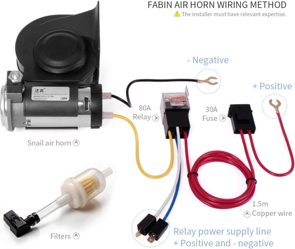 24V, red FARBIN Car Horn 24V 150db Super Loud Air Horn with Compressor Nautilus Compact Wiring Harness for Any 24V Vehicles