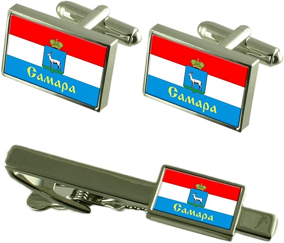 La ciudad de Samara Rusia Bandera gemelos Clip de corbata Box Set ...
