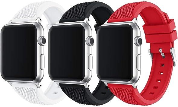 TOPsic Correa para Apple Watch Correa 38mm 40mm 42mm 44mm, Reemplazo Correa Silicona de Sport Banda para iWatch Correa Series 4 3 2 1: Amazon.es: Deportes y aire libre