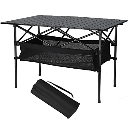 Folinstall Portable Tables   Picnic Table With Hammock Style Storage Basket  U0026 Carry Bag   Collapsible