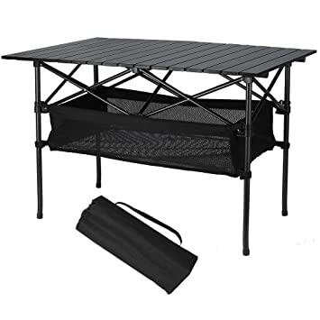 Folinstall Collapsible Table With Big Tabletop,Portable Folding Table With  Hammock Style Storage Basket U0026