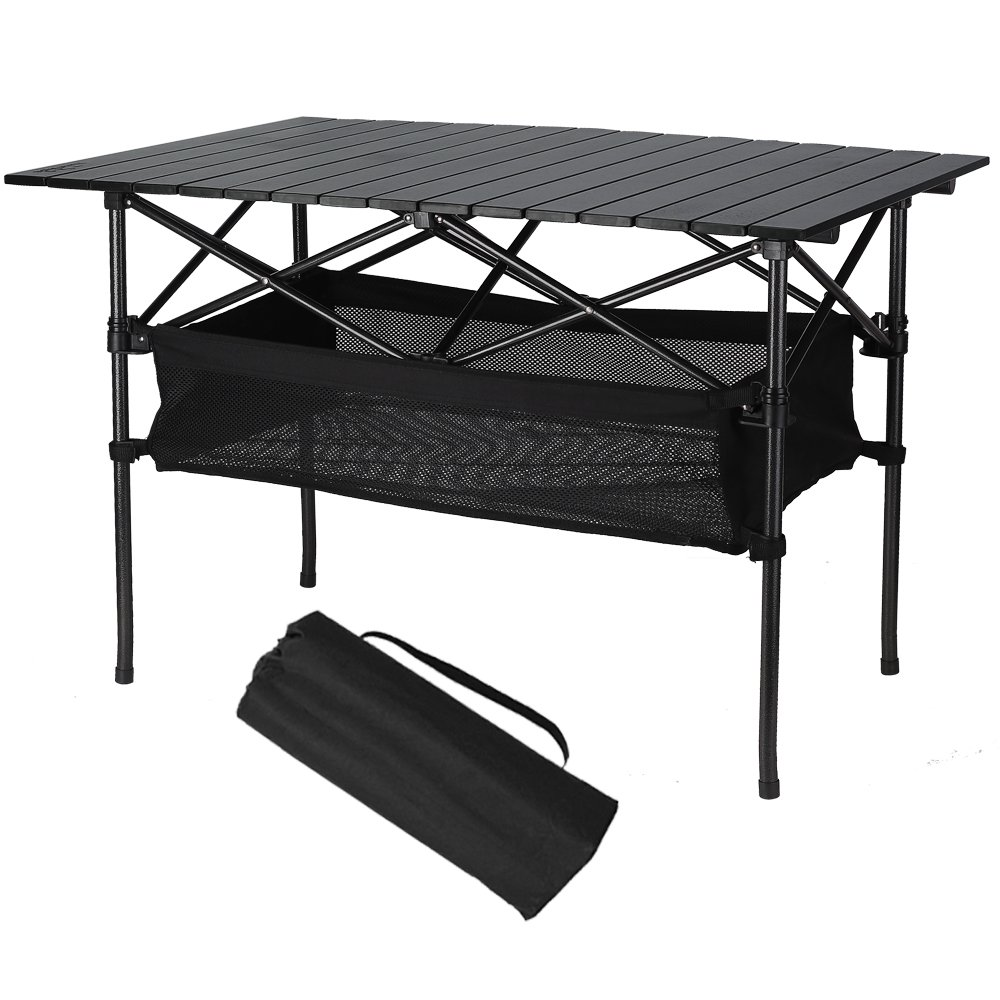 Folinstall Picnic Tables with Hammock Style Storage Basket & Carry Bag - Collapsible Tables Supports 154.32 lbs(70 kg) by Folinstall (Image #1)