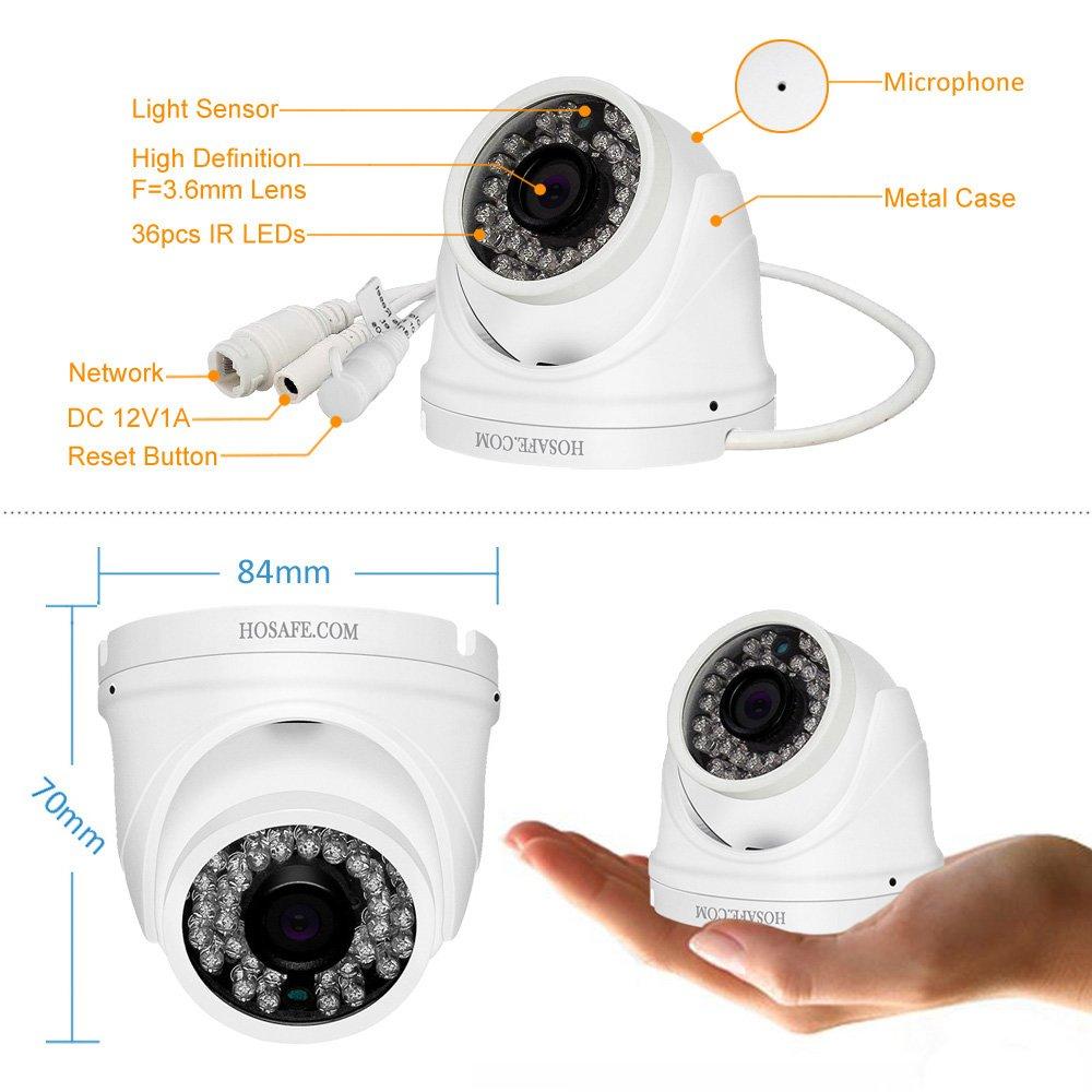 HOSAFE POE IP Camera 1080P Outdoor Security Camera Night Vision Video Surveillance Camera Motion Detection Alarm ONVIF Camera Built-in Microphone