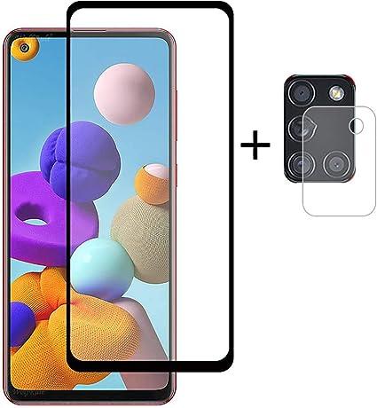 Image ofPkila Protector de Pantalla Samsung Galaxy A21s Cristal Templado+ Cámara Protector [9H Dureza][Alta Definición] Vidrio Templado para Samsung Galaxy A21s-Negro