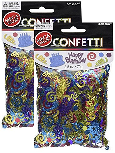 Amscan Happy Birthday Type Embossed 2 1/2 ounces of Confetti (2 (Birthday Party Confetti)