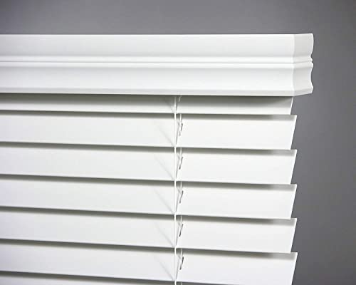 Bravada Select, Cordless Superior 2 Faux Wood Blinds Snow White, 72 Wide x 60 Length