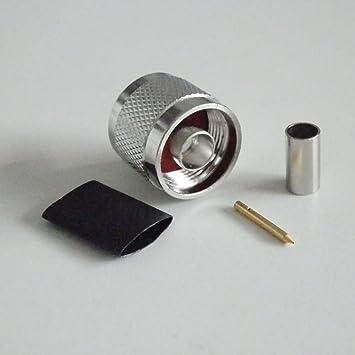 Conector Adaptador RF N Macho Para Crimpar RG58 RG142 LMR195 RG400 Cable Coaxial