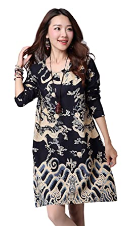 Avacostume Womens Tang Suit Pattern 3 4 Sleeve Boho Loose Blouse