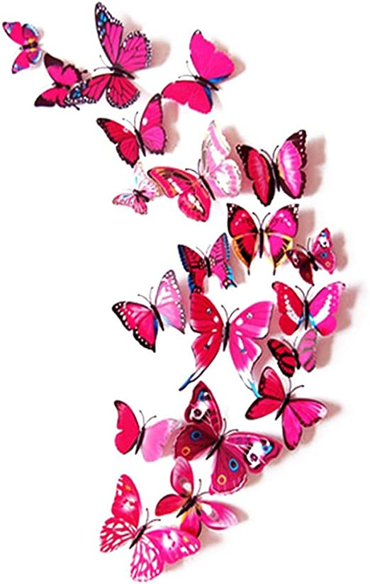 3D PINK BUTTERFLY WALL ART DECAL SET OF 12 BRAND NEW