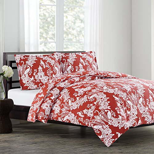 (Echelon Home Pagoda Full/Queen Duvet Cover Set Cinnabar,)