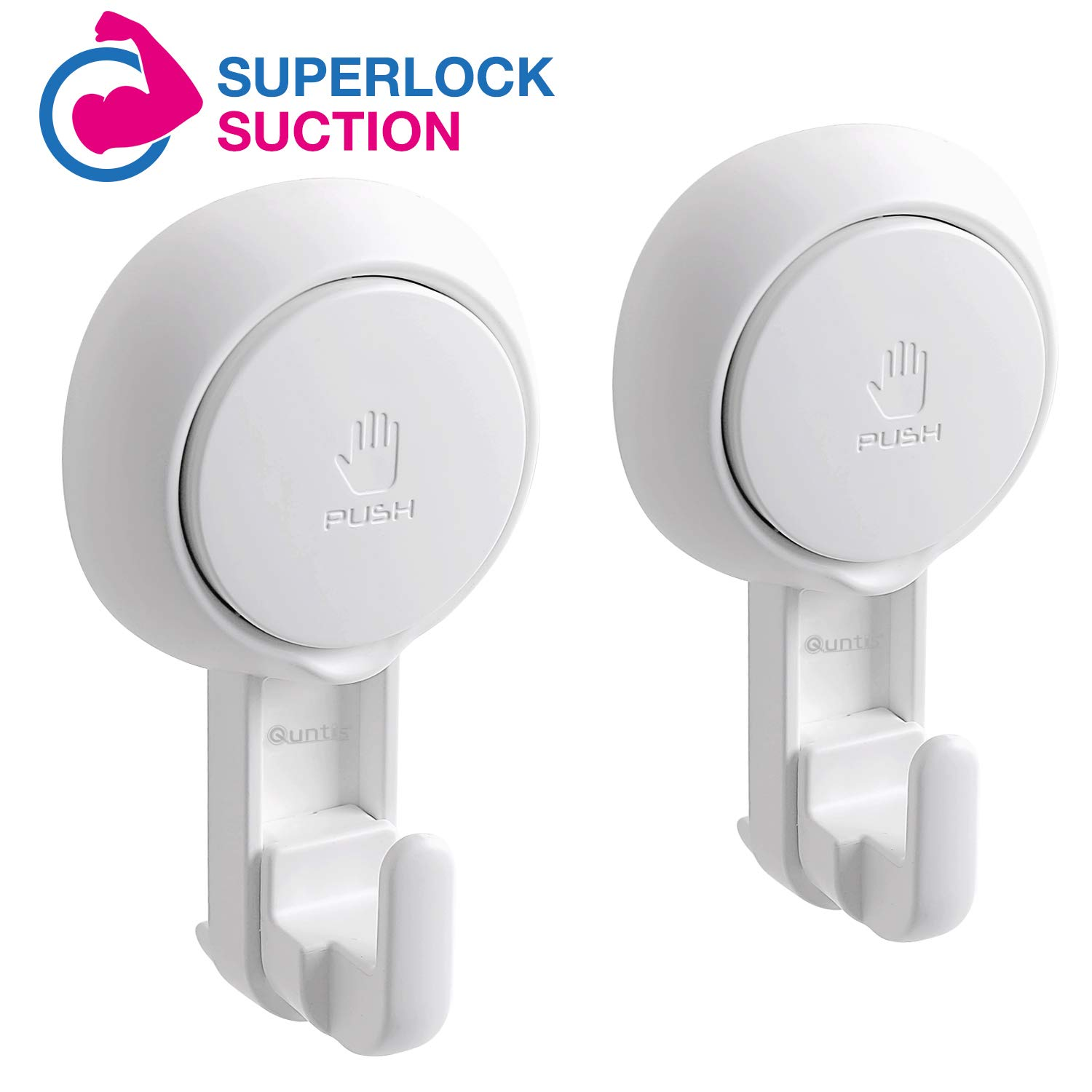 Quntis Suction Cup Hooks for Shower, Reusable Shower Suction Cups with Hooks Heavy Duty Vacuum Suction Home Kitchen Bathroom Wall Hooks Hanger for Towel Bathrobe Loofa Washcloth, 2 Pack