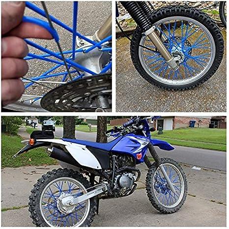 72Pcs Motorcycle Motocross Dirt Bike Wheel Rim Spoke Skins Covers Wrap Decor Protector Kit White
