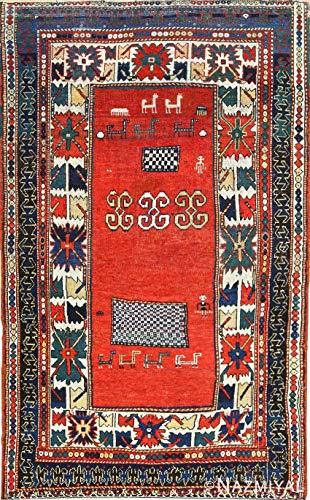 Nazmiyal Tribal Rust Antique Caucasian Kazak Rug 49090