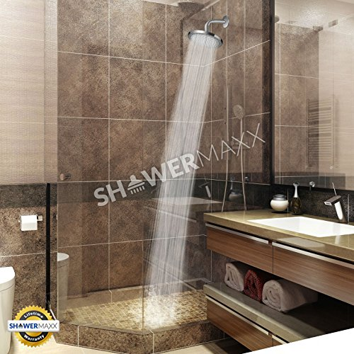 ShowerMaxx | Fixed Rainfall Shower Head with High Pressure Water Flow in Polished Chrome Finish | Round 8inch with Rainshower Jets | Luxury Hotel Spa Rainhead | 2.5 GPM High-Flow Waterfall Showerhead by ShowerMaxx (Image #3)