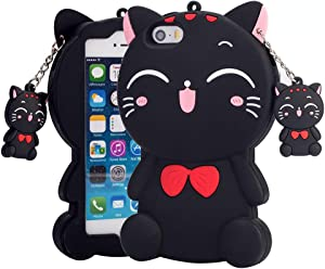 Kawaii Phone Case for iPhone 5 5S SE, 3D Cute Cartoon Lucky Cat Animal Soft Rubber Silicone Shockproof Drop Protection Skin Durable Bumper Case for Girls Kids Teens Ladies (Black)