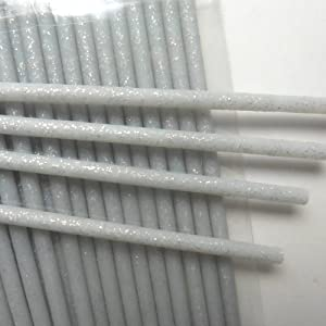 "50pcs Silver Fairy Dust Glitter Plastic Sticks, 6"" (150mm) x 5/32"" (4.5mm)"