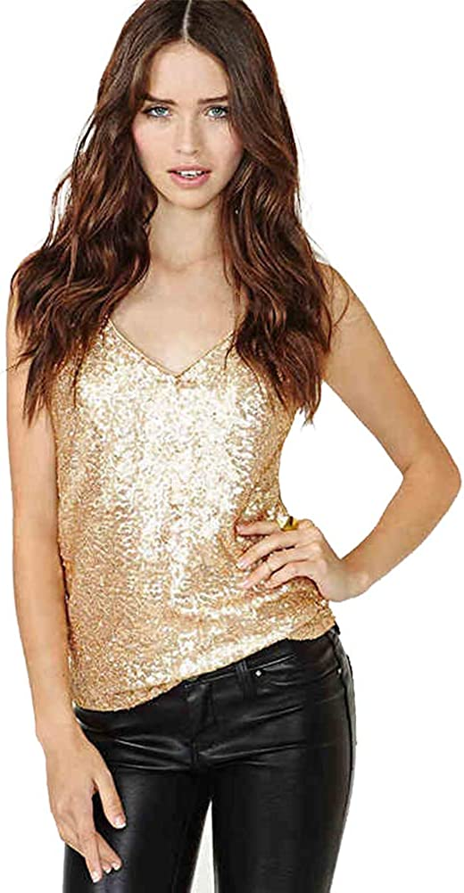 Bonaweite Women Sparkle Sequins Straps Tank Top,Sleeveless V-Neck Shimmer Camisole Club Vest Tops