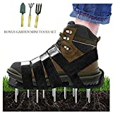 Upgraded Lawn Aerator Shoes Heavy Duty Spiked Aerating Lawn Sandals With 4 Heal Adjustable Metal Buckles Straps&1x Heal Elastic Design for Aerating Garden Yard(Gift:3 Pieces Garden Mini Tools Set)