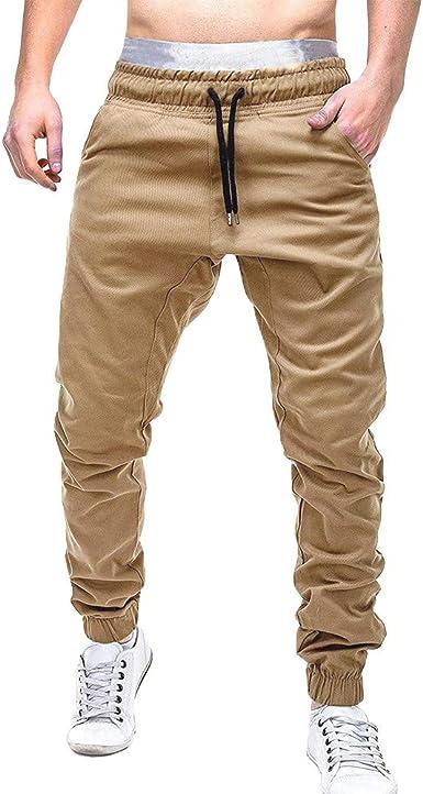 Pantalones Casuales de los Hombres Moda Color Sólido Casuales ...