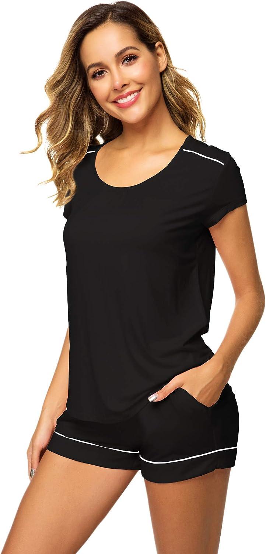 WiWi Womens Pajamas Set Soft Bamboo T Short Nightwear Pjs Sleeve Mail order cheap Los Angeles Mall