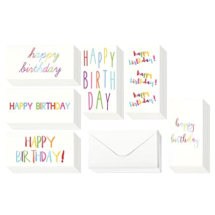 Amazon birthday cards box set 36 pack birthday money card birthday cards box set 36 pack birthday money card holders 6 colorful rainbow font m4hsunfo
