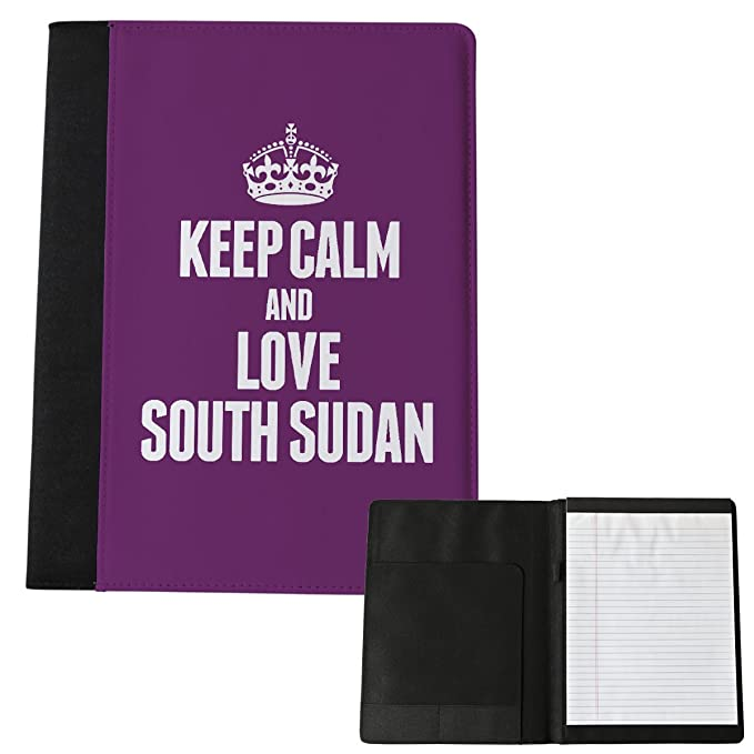 PURPLE Keep Calm and Love South Sudan Large Notepad 2282