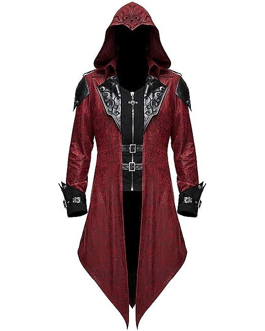 Devil Fashion Uomo Gotico Steampunk Frac Giacca Nera