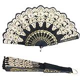 Mimgo Store Lace Flowers Design Black Spanish Style Dance Wedding Party Lace Silk Folding Hand Held Flower Fan