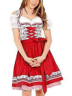 4fa57c1153d84f Krüger Damen Trachten Dirndl kurz, Modell: Silvana, über Knie, rot, weiß