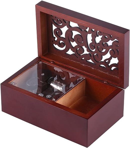 Caja de Música de Madera Caja Musical de 18 Nota Wind Up Caja de ...