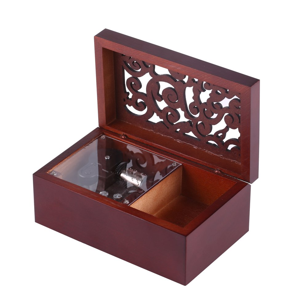 EDELWEISS-Silver movement 1Pc Solid Wood Miniature Hollow 18 Note Wind Up Music Box Jewelry Case Musical Toys Gifts Hot
