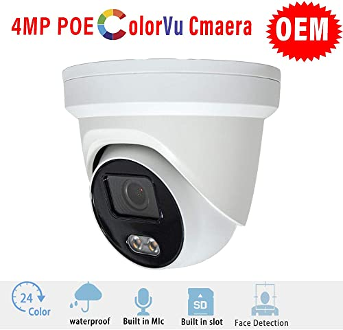 4MP POE Colorvu Dome IP Camera OEM DS-2CD2347G1-LU 4mm, 4 Megapixels Full Time Color Outdoor Fixed Turret Network Camera HS-VUT04G1-IA 4mm with Built-in Mic and Micro SD Slot, H.265 IP66 Waterproof