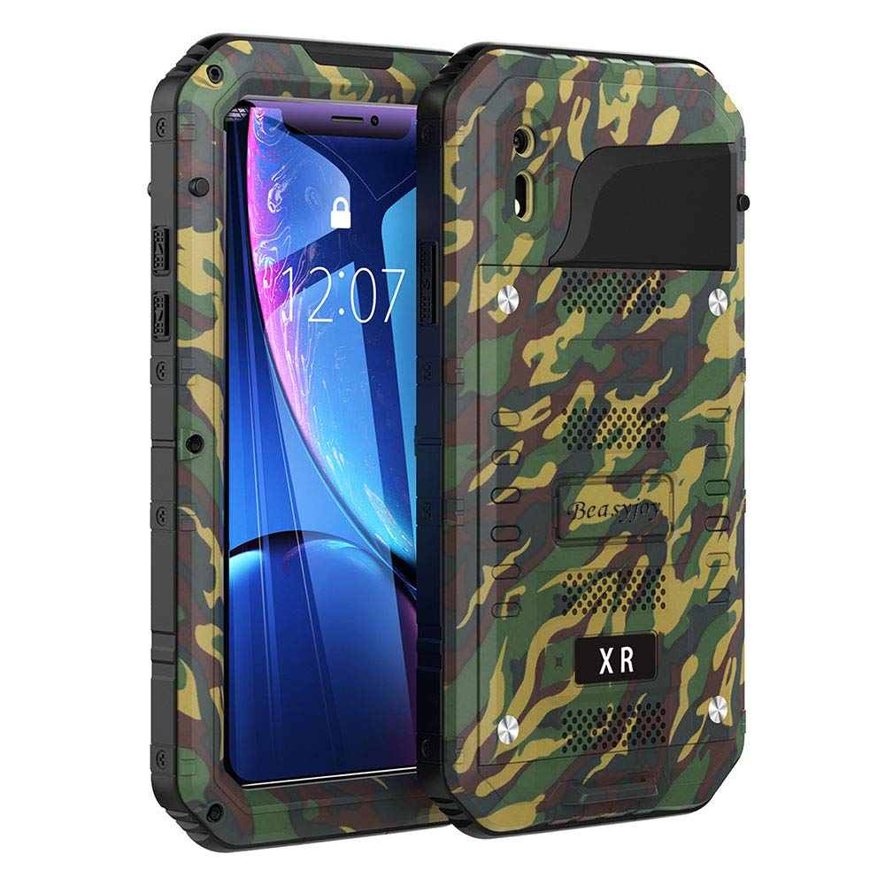 Phone Case Compatible with iPhone XR, Beasyjoy Heavy Duty Built-in Screen Full Body Protective Waterproof Shockproof Drop Proof Tough Rugged Hybrid Military Grade Defender Outdoor Black (Camo)