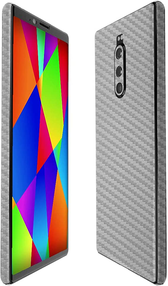 Full Coverage TechSkin with Anti-Bubble Clear Film Screen Protector Skinomi Silver Carbon Fiber Full Body Skin Compatible with Sony Xperia Z1S