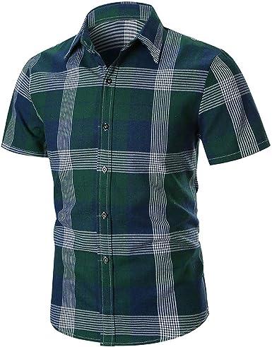 Camisa a Cuadros 2019 Nuevo Cuadros Camisa Hombres Camisas Manga Corta Chemise Homme de algodón Hombre Comprobar Camisas: Amazon.es: Ropa y accesorios