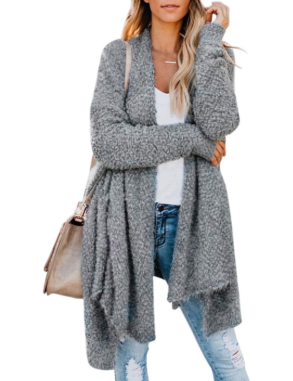 Women's Long Sleeve Chunky Knit Sweater Open Front Cardigan Outwear with Pockets,Fuzzy Fleece Coat Grey by Kelove