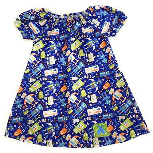 Toddler Robots on Blue Peasant Dress (3-6 Months) (Bailey Tunic)