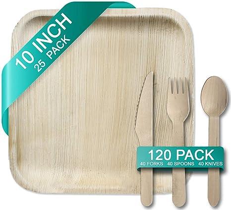 Amazon.com: Juego de cubiertos cuadrados y de madera de 25 ...