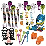Halloween Terrific Toy Assortment Includes Paddle Balls, Eyebrows & Mustache Glasses ,Pencils,Tattoos,Crayons in Halloween Box, Halloween Whistles, Pumpkin Face Coil Spring Toys,