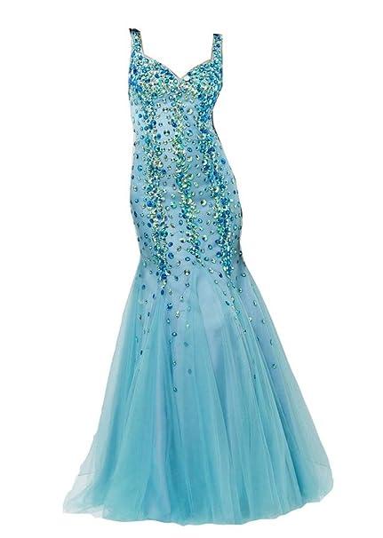 emmani Mujer hombros vestidos de fiesta con diamantes Azul azul celeste