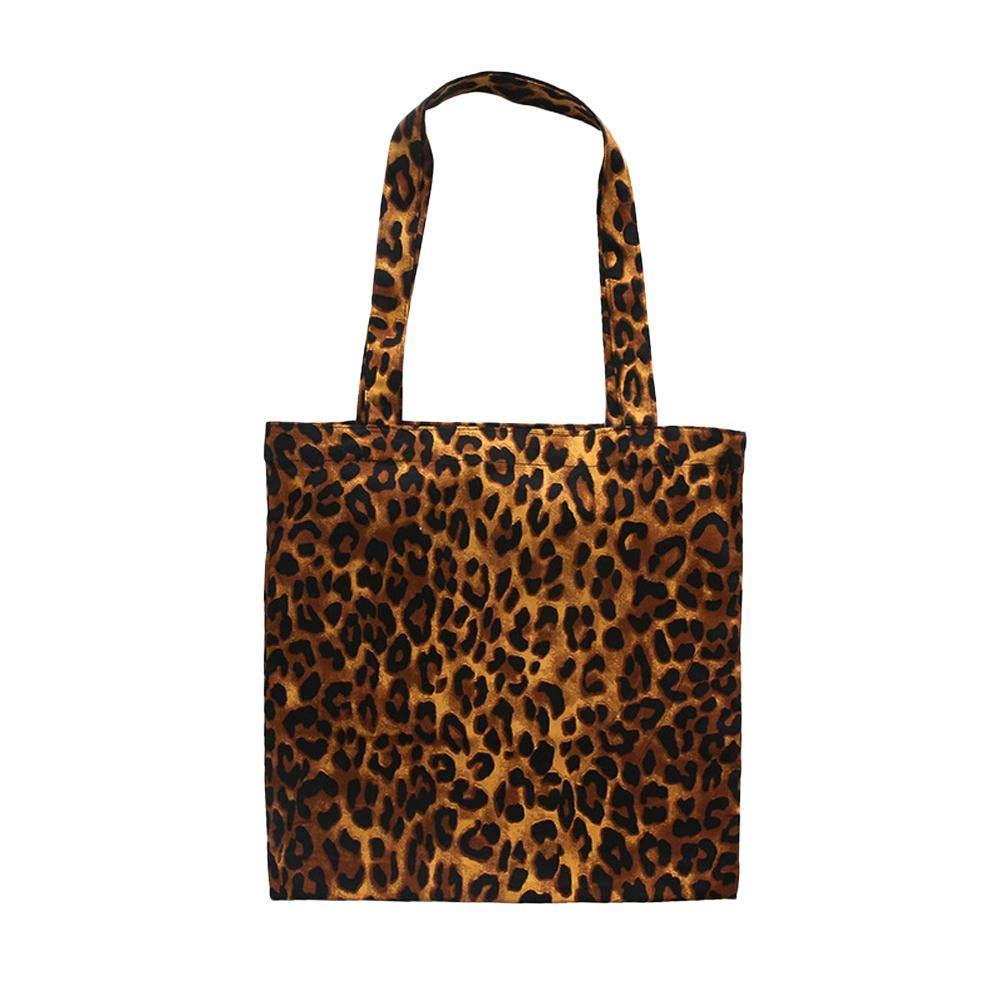iBaste Moda Mujer Bolsa de Hombro Algodón Estampado de Leopardo Bolsa de Lona Gran Capacidad Bolso Totes Soulder Bag iBaste_S