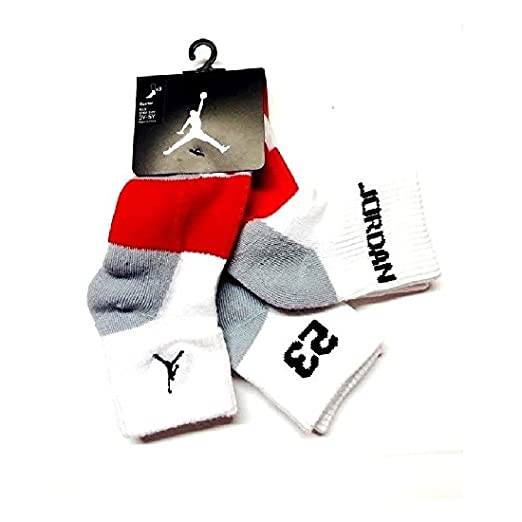 Amazon.com: Nike Air Jordan Boys 3 Pair Quarter Socks Size 7-9 3Y-5Y: Sports & Outdoors