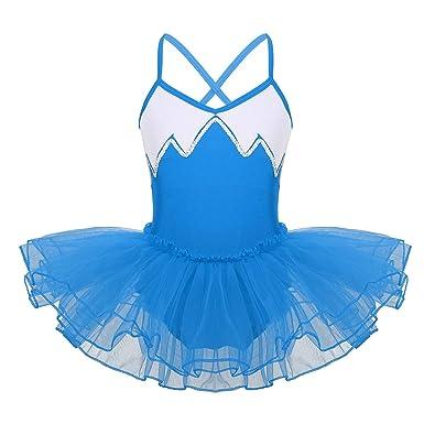 IEFIEL Vestido Tutú Maillot de Ballet danza Para Niña Vestido Con Lentejuelas Patinaje Artistico 5-12 Años