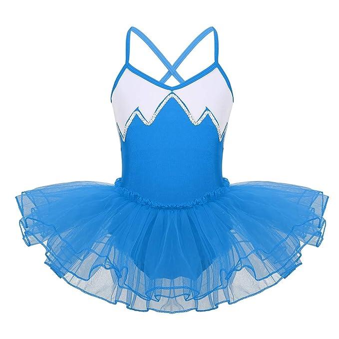 iiniim Maillot Vestido Ballet Danza Tutú Lentejuelas Brillantes Leotardo con Braga Interior Falda Infantil Traje Baile