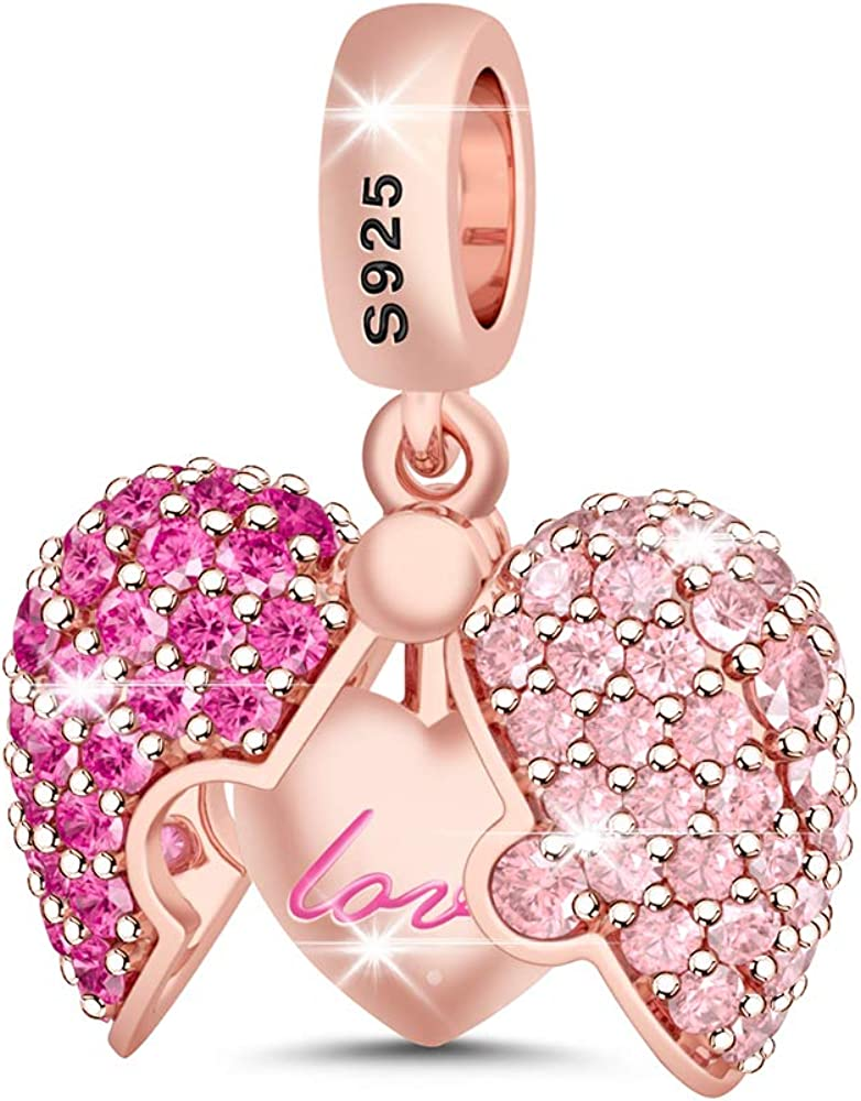 925 Sterling Silver Light Pink//Hot Pink//Clear Crystal Heart Charm Bead