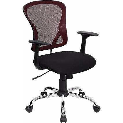 amazon com flash furniture mid back burgundy and black mesh swivel